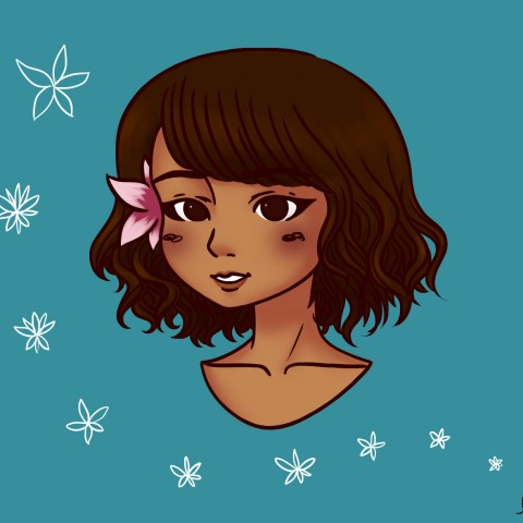 Illustration Hawaiian girl