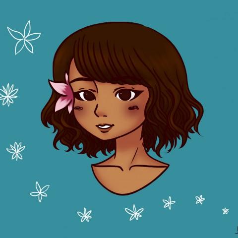 Illustration Hawaiian girl